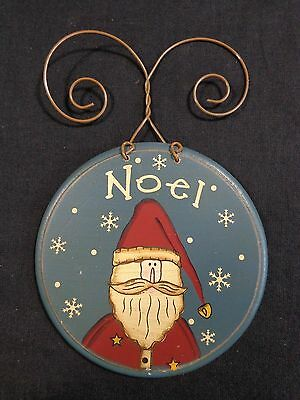 "Santa Claus Ornament 6"" NOEL White Snowflakes Blue Wood Disk Christmas"