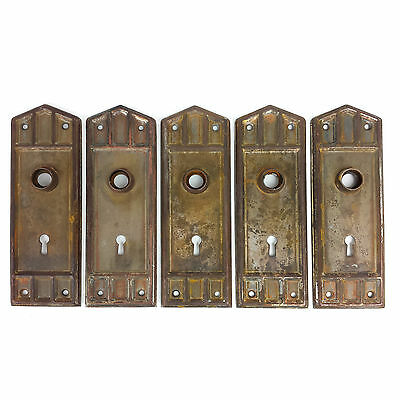 Vintage Doorknob Back Plates Set of 5 Matched Metal Knob Plates