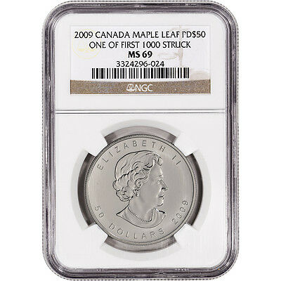 2009 Canada Palladium Maple Leaf $50 - NGC MS69 - One of 1st 1000 Struck
