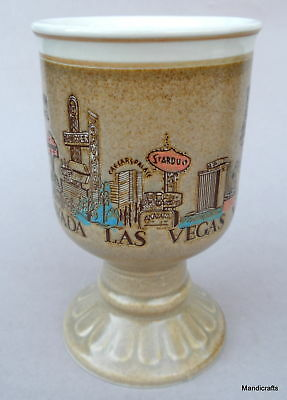 Coffee Mug Las Vegas Old Casino Strip Stardust Dunes Sands Footed Stoneware Vtg