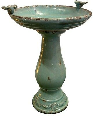 Alpine 25 in. Turquoise Antique Ceramic Birdbath Outdoor Garden Yard Basin New