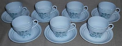 Set (7) Booths Blue Mist CANTERBURY - GREEN PATTERN Cups/Saucers ENGLAND