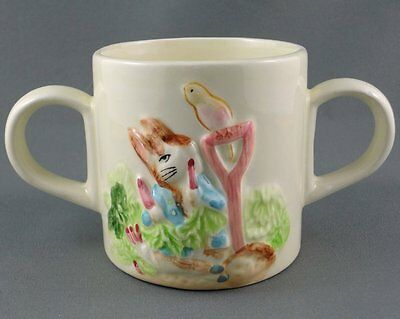 Schmid Childs Mug Tales Peter Rabbit Beatrix Potter Double handle 7oz 1987 Label