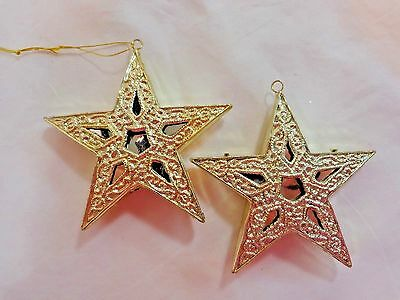 STAR Ornament Set of 2 Gold Plastic Silver Cut Outs Christmas Decor