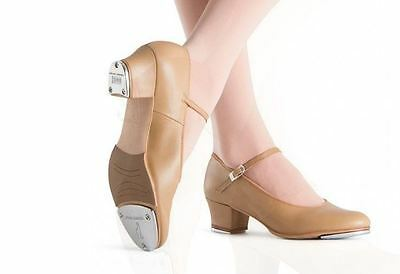 "New/Box Bloch S0323L Ladies Tan Showtappers Tap Shoes 1/2"" Cuban heel Leather"
