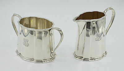 "Tiffany & Co Makers, Sterling Art Deco Sugar And Creamer  ""1947"""