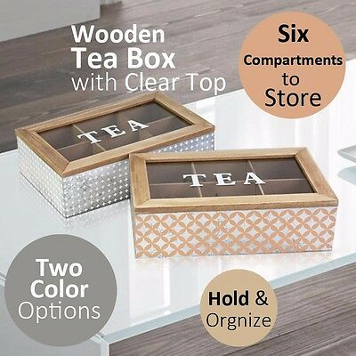 Copper or Silver Wooden Tea Box with Clear Top 6 compartments Home Kitchen Store