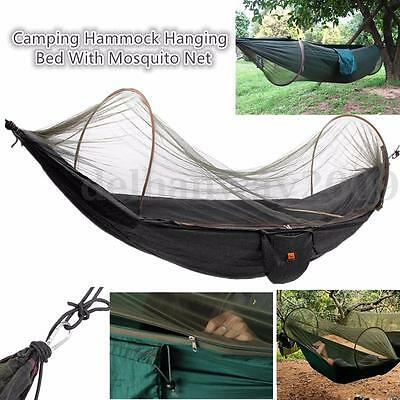 Hot Strength Parachute Fabric Camping Hammock Hanging Bed With Mosquito Net NEW