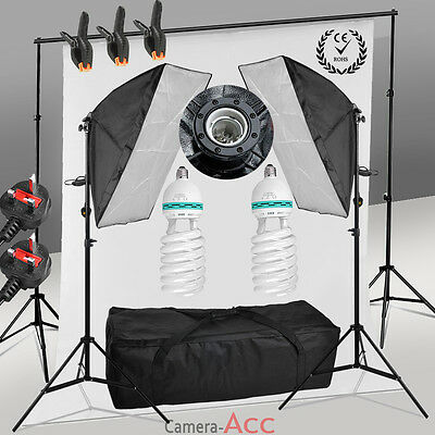 Photo Studio Softbox Continuous Lighting Kit White Backdrop Background Stand UK