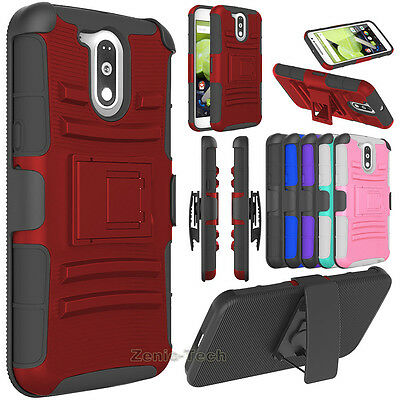 For Motorola Moto G4/G4 Plus Phone Case Hybrid Clip Holster Kickstand Hard Cover