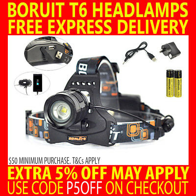 2018 Rechargeable Boruit Cree T6 9000Lm Xml L2 Led Headlamp Headlight Torch Lamp
