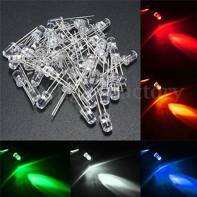 50pcs 5mm 5 Colors Round Top Emitting Diode Water Clear LED Light Kit White Red