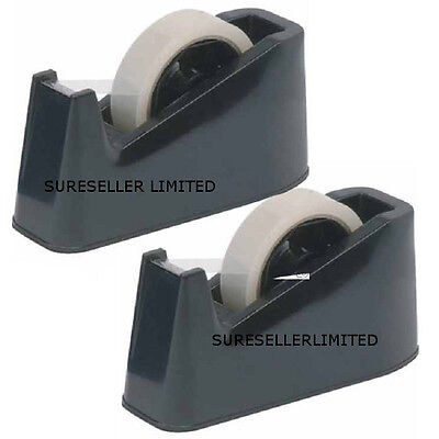2 X Heavy Duty Tape Dispenser Desktop Office Sellotape Sticky Cellotape  Holder