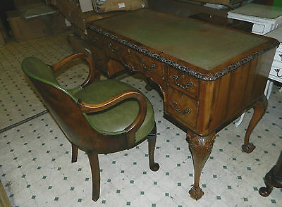 Antique Style Writing Desk And Chair Set / Brass Detail / 3 Drawer / Lockable /