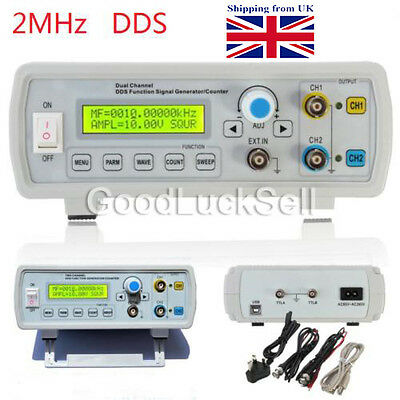 2MHz Dual Channel DDS Function Signal Generator Sine/Square Wave Sweep Counter