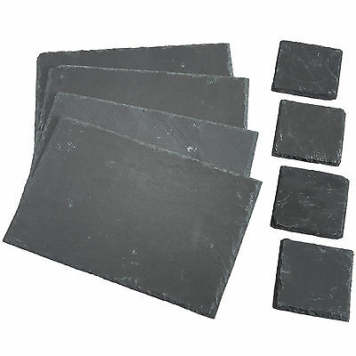 VonShef 8 Handmade Square Natural Slate Coffee Table Placemats & Coasters