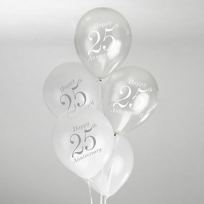 Vintage Romance 25th Wedding Anniversary Balloons White/Silver Pack of 8