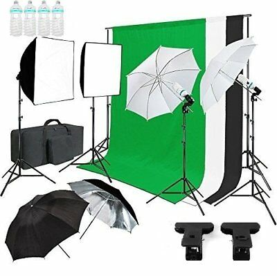 Kit d'Eclairage Studio Photo Softbox Trépied Parapluie Tissu de Fond 135W Lampe