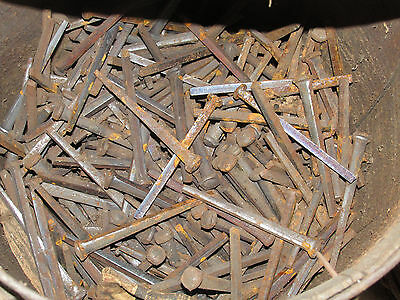 "Lot of 70 ANTIQUE SQUARE CUT 4 1/2"" hand cut NAILS New Old Stock NOS Barn Find • CAD $31.73"