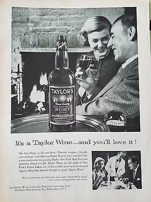 1958 Taylors Wine Port Bottle Couple By Fireplace Original Ad