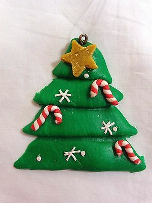 "Christmas Tree Ornament 2"" Green Molding Clay Candy Canes Snowflakes Star"