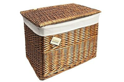 Medium or Lrg. Wicker Basket Storage Chest Trunk Hamper with Cloth Lining,Brown