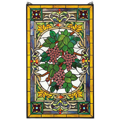"34"" Cabochon Grapes Tuscan Style Hand Crafted Stained Glass Window Panel"