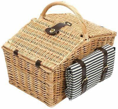 Greenfield Collection Deluxe Somerley Willow 4 Person Picnic Hamper with Matchin