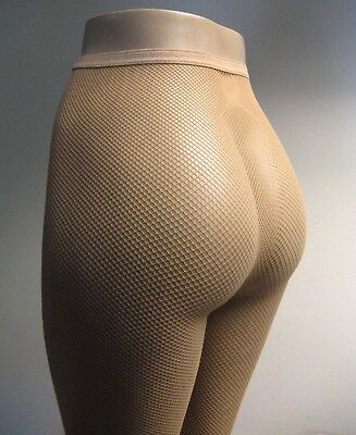 Music Legs 9000 Spandex Seamless Fishnet Pantyhose One Size: Plus 1X Queen Beige