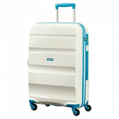 NEW American Tourister Bon Air Zipped Suitcase, White/Blue, Polypropylene, 75cm