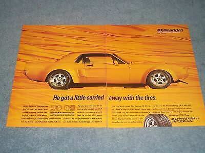 "1967 Mustang Coupe BFGoodrich Vintage 2pg Ad ""He Got a Little Carried Away..."""
