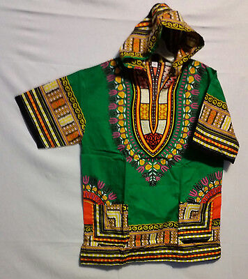 Men Women African Dashiki Hoodie Top W/ Hood Traditional Green Yellow S M L