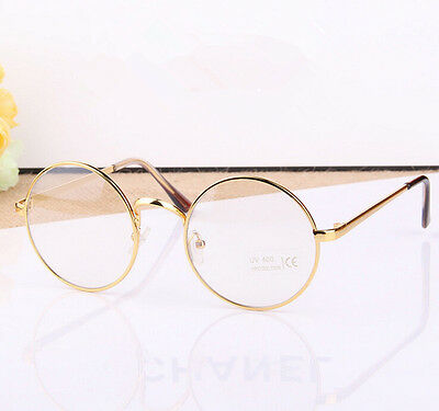 retro round gold black metal frame clear lens glasses designer nerd geek eyewear