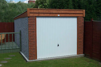 Single Concrete Sectional Garage With Pent Roof