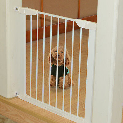 PawHut Pet Safety Gate Extending Pressure Retractable Barrier 75-82cm Metal