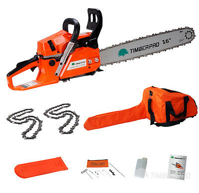 """TIMBERPRO 58cc 16"""" Petrol Chainsaw with 2x 16"""" Chains. Complete Chain Saw Kit"""