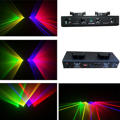 4 Lens 360mW RGYV DMX Laser Light Disco DJ Stage Party Lighting