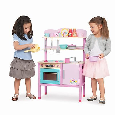New Tidlo Little Chefs Pink Girls Childrens Wood Play Kitchen Station
