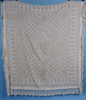 19Th C Ethnic Hand Embroidered Bead Spread / Table Cloth
