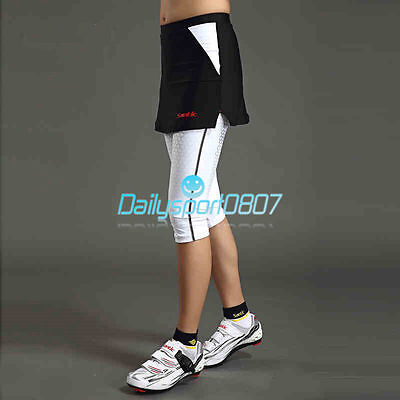 New Cycling 4D Padded Bike Bicycle Pants 3/4 Shorts Tights Skirt Trousers DS