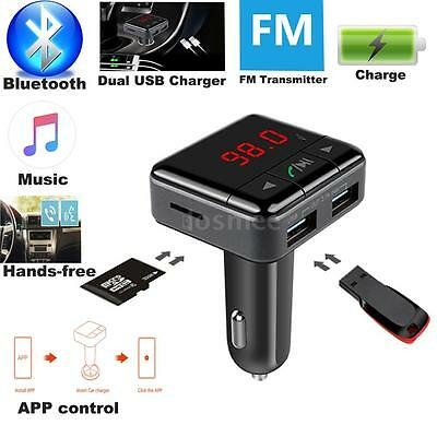 Bluetooth 4.1 Car Kit Handsfree FM Transmitter Radio MP3 Player USB Charger F7V4