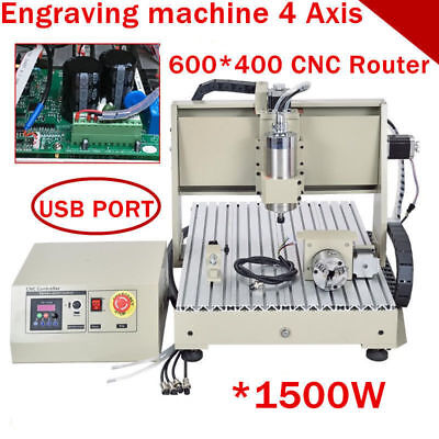 USB 4 axis 6040 1500W cnc router 3D engraver engraving milling machine+mach3 USA