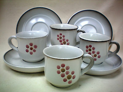 Denby Gypsy Set 4 x Coffee Cups and Saucers Excellent Condition (ref X)