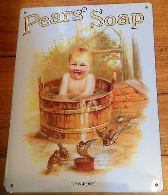 Pears Soap Metal Tin Sign Plaque Advertising Bathroom Lux & Sunlight Also Listed
