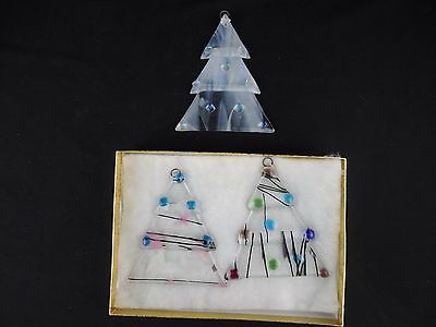 Set of 3 Fused Glass Handmade Christmas Tree Ornament B2