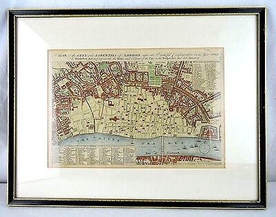 OLD Map of LONDON ENGLAND by W. Maitland c.1756 After the Dreadful Fire of 1666