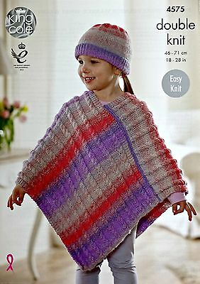 KNITTING PATTERN Girls Easy Knit Cable Poncho and Hat Sprite DK 4575