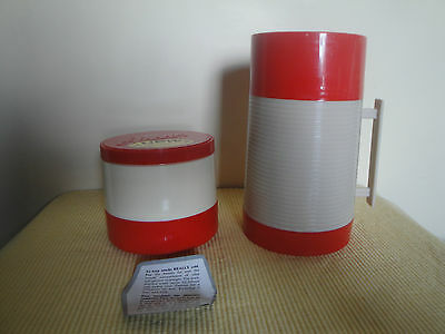 Vintage Pr Aladdin Red Plastic Thermos Hy-Lo & Thermo Jar # 7000 Great Shape