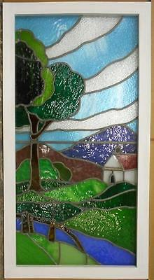 "OLD ENGLISH LEADED STAINED GLASS WINDOW Outside Barn Scene 24.5"" x 46.25"""