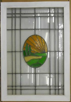 "LARGE OLD ENGLISH LEADED STAINED GLASS WINDOW Horizon Scene 27.25"" x 39"""
